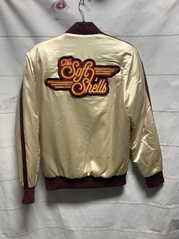 product details: PUFFY TWO TONED SATIN ZIPUP JACKET LARGE \THE SOFT SHELLS\ BACK PATCH AS-IS photo