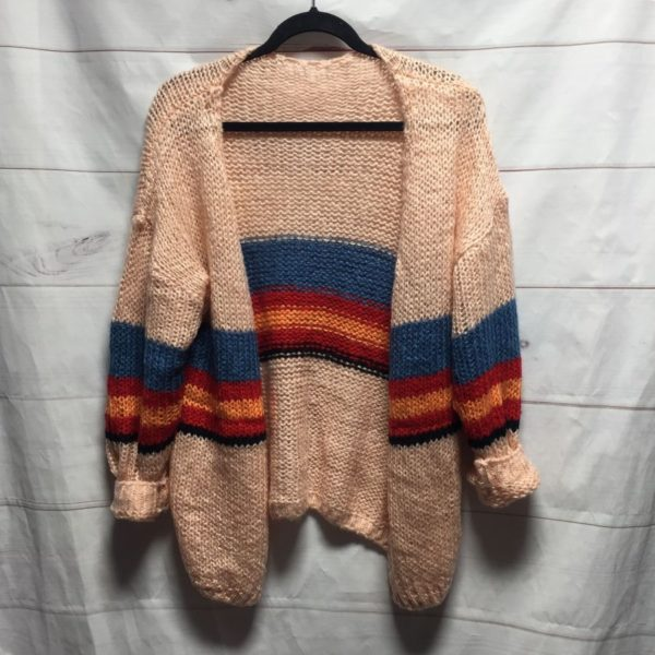 product details: SUPER SOFT 1970S KNITTED CARDIGAN SWEATER RETRO STRIPE DESIGN photo