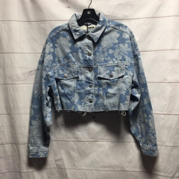 product details: CROPPED FLORAL PRINTED DENIM JACKET NWT photo