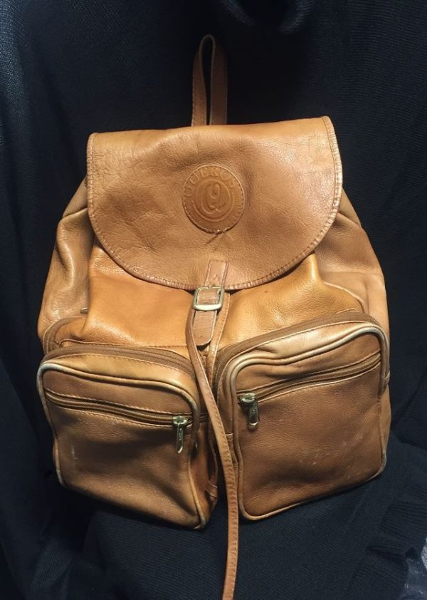 product details: VINTAGE SOFT & SLOUCHY GENUINE LEATHER BACKPACK NATURAL PATINA FRONT ZIP POCKETS- AS IS photo