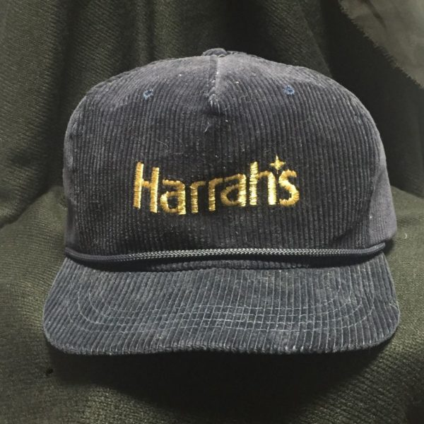 product details: ORIGINAL HARRAHS CASINO GOLD EMBROIDERED CORDUROY HAT - AS IS photo