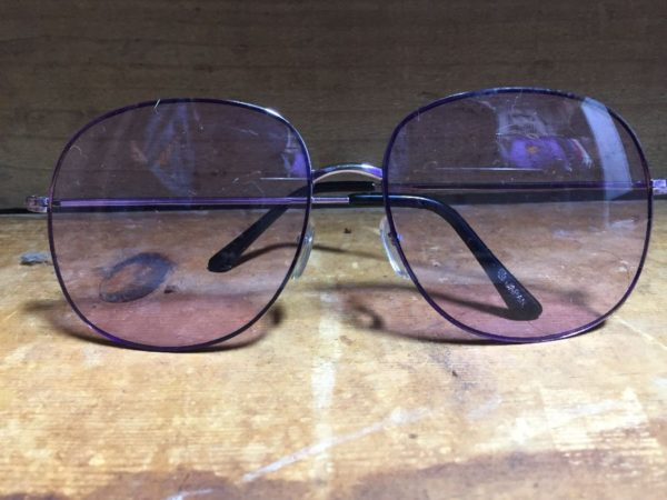 product details: 1970S OVERSIZED TRANSLUCENT PURPLE LENS GLASSES | MADE IN JAPAN  - AS IS photo