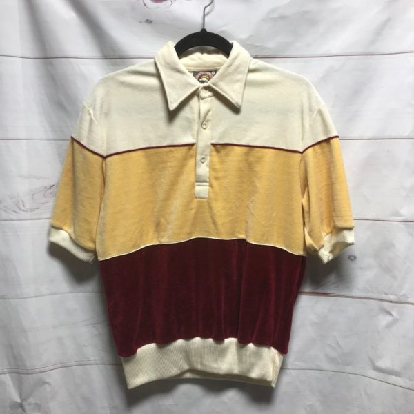 product details: SS SHIRT VELOUR COLLARED WIDE STRIPE photo