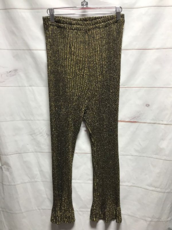 product details: SUPER RETRO GOLD SPARKLE FLARE RIBBED PANTS  ELASTIC WAIST photo