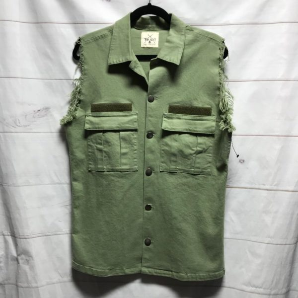 product details: ARMY CUT OFF SHIRT VEST STRETCH FABRIC MADE IN USA *VENICE LOCAL BRAND photo