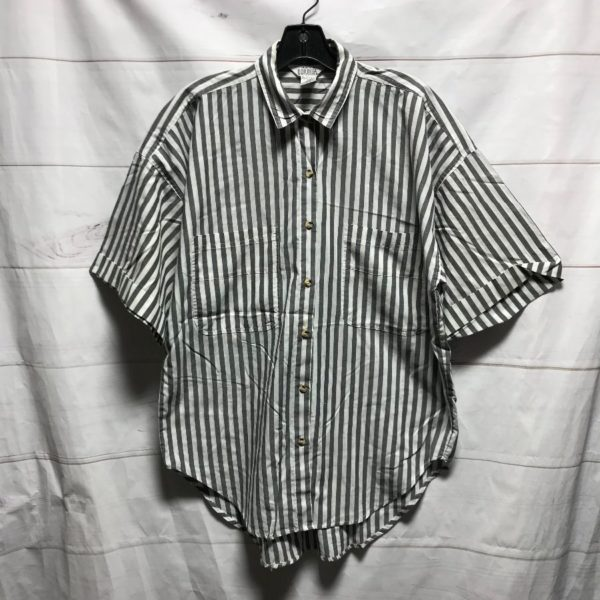 product details: 1980S-90S GREY AND WHITE STRIPE BOXY FIT BUTTON UP SHIRT - AS IS photo