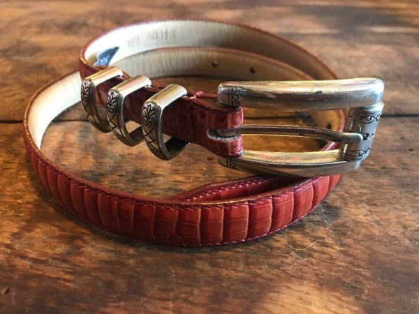 product details: SUPER NARROW BRIGHTON CROC EMBOSSED LEATHER BELT ENGRAVED BUCKLE & LOOPS photo