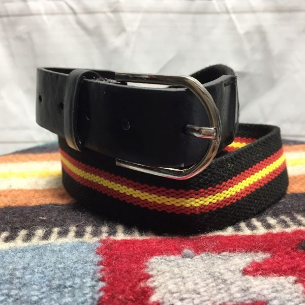product details: WOVEN RED AND YELLOW STRIPE BELT WITH LEATHER ENDS photo