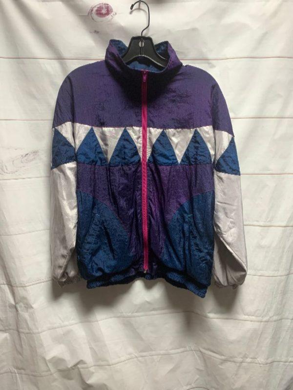 product details: 1990S GEOMETRIC COLORBLOCK DYED NYLON WINDBREAKER photo