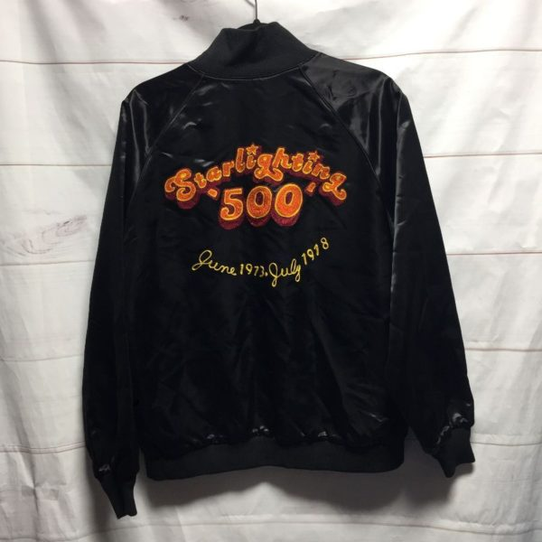 product details: VINTAGE CHAIN STITCHED STAR LIGHTING 500 JUNE 1973 ACETATE BOMBER JACKET DOOBIE BROTHERS photo