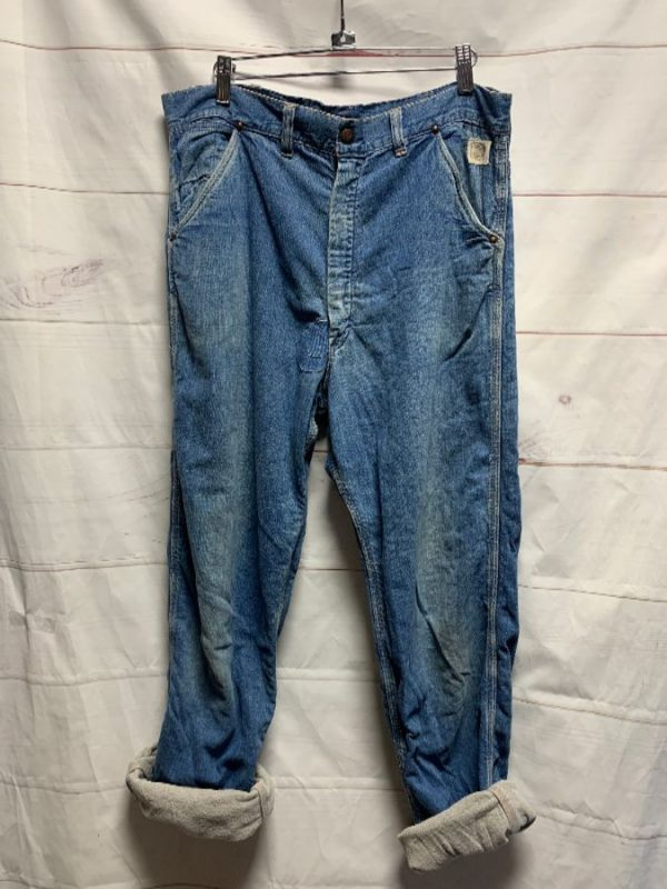 product details: FLANNEL LINED 1960S SEARS BRAND DENIM CARGO STYLE WORK WEAR JEANS WITH COPPER SNAP BUTTON & RIVETS photo