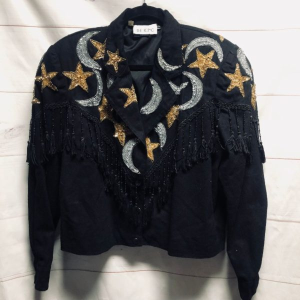 product details: BRUSHED CANVAS WESTERN MOTO JACKET WITH BEADED TASSEL TRIM AND COSMIC MOON & STAR SEQUIN EMBELLISHMENTS photo