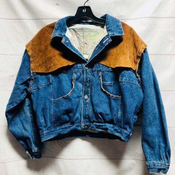 product details: 1980S CROPPED UPSIDE DOWN PANTS DENIM JACKET WITH WESTERN SUEDE DETAILS photo