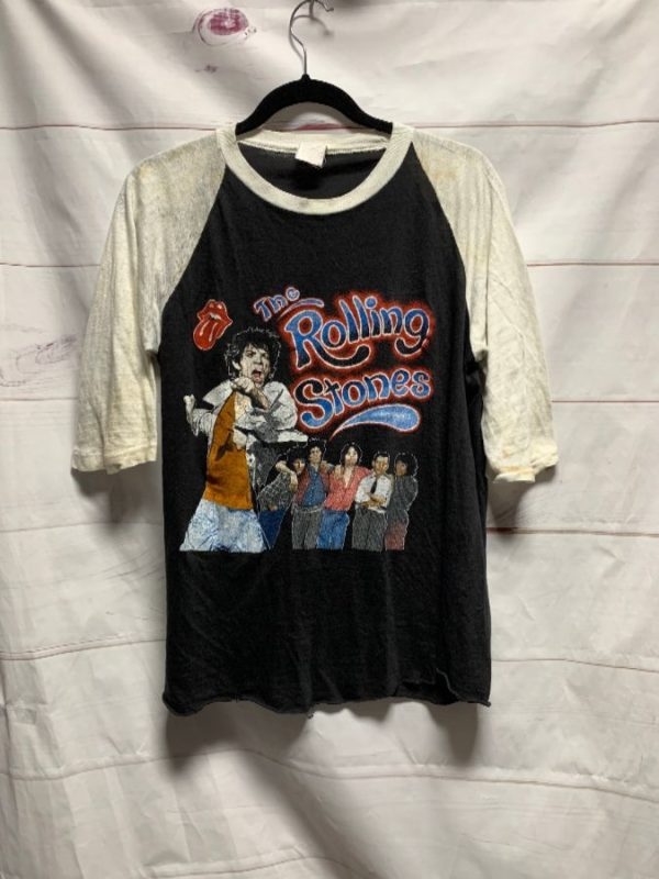 product details: ROLLING STONES RAGLAN RINGER T SHIRT AS-IS photo