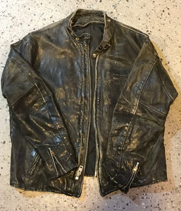 product details: HEAVILY DISTRESSED LEATHER CAFE RACER MOTORCYCLE JACKET W/ RIDE TO LIVE PATCH photo