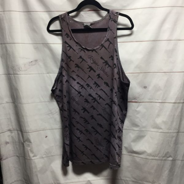 product details: DISTRESSED & TATTERED ROGUE STATUS TANK TOP WITH GUN SHOW PRINT - AS IS photo