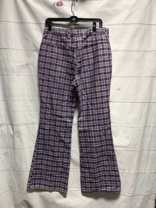 product details: VINTAGE 1970S MAVERICK PLAID BELL BOTTOM PANTS AS-IS photo