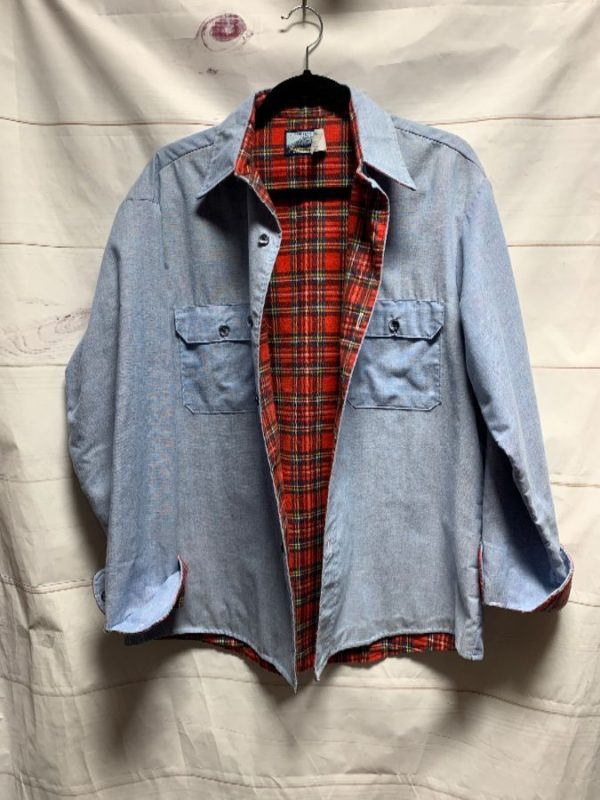 product details: UNIQUE LS BD CHAMBRAY WORKSHIRT W/ FLANNEL LINING photo