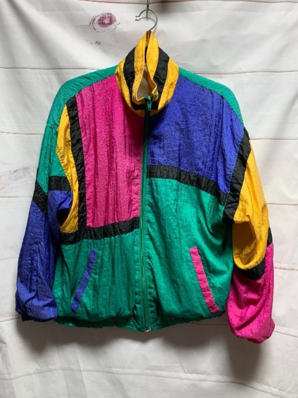 product details: RADICAL COLOR BLOCK WINDBREAKER ZIPUP JACKET #AMAZEBALLZ AS-IS photo