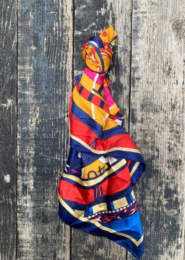product details: SILK SCARF RICH COLORED NAUTICAL DESIGN photo