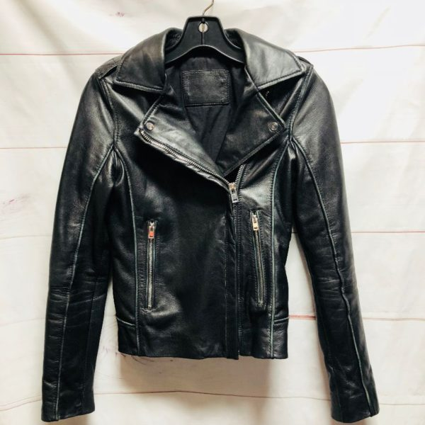 product details: LAMB LEATHER DOUBLE ZIPPER SMALL FIT MOTO BIKER JACKET SIDE ZIPPERS photo