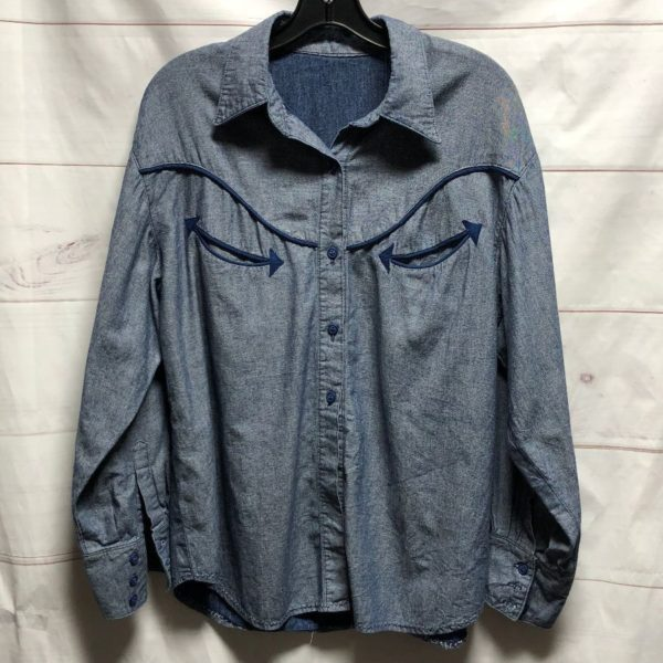 product details: LS BD WESTERN STYLE CHAMBRAY SHIRT WESTERN EMBROIDERY photo