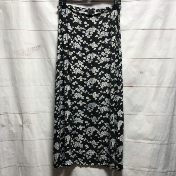product details: 1990 FLORAL PRINT RAYON MIDI SKIRT WITH ZIPUP BACK photo