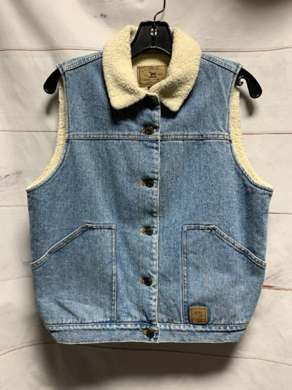 product details: DENIM VEST SHERPA LINED RALPH LAURENT MADE IN HK photo