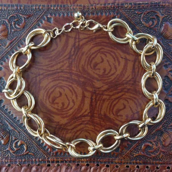 product details: THICK GOLD DOUBLE CHAIN CHOKER NECKLACE photo