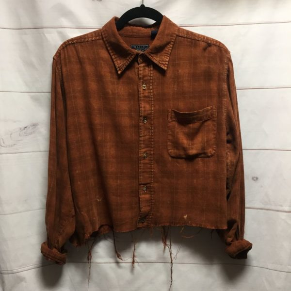 product details: DISTRESSED CUSTOM DYED & CROPPED LONG SLEEVE BUTTON UP FLANNEL SHIRT - AS IS photo