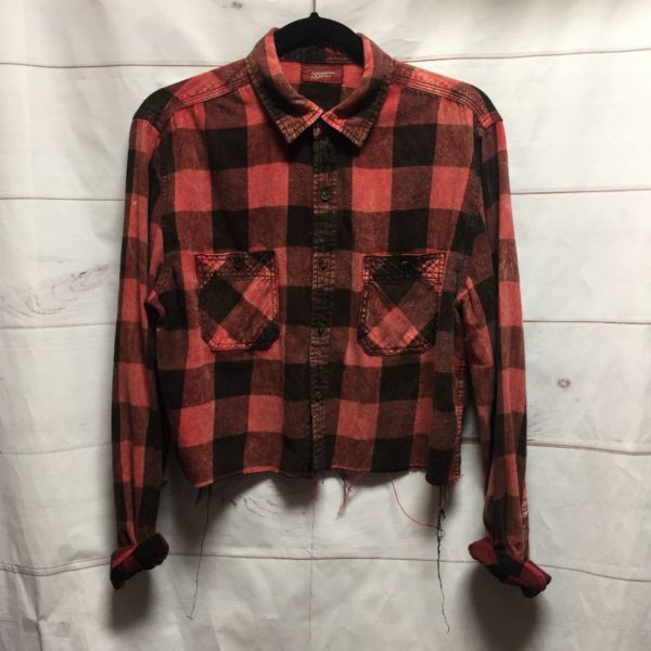 product details: DISTRESSED CUSTOM DYED & CROPPED PLAID LONG SLEEVE CROPPED BUTTON UP FLANNEL SHIRT photo