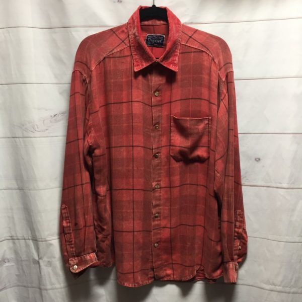 product details: DISTRESSED CUSTOM DYED LONG SLEEVE BUTTON UP FLANNEL SHIRT WITH CORDUROY COLLAR - AS IS photo