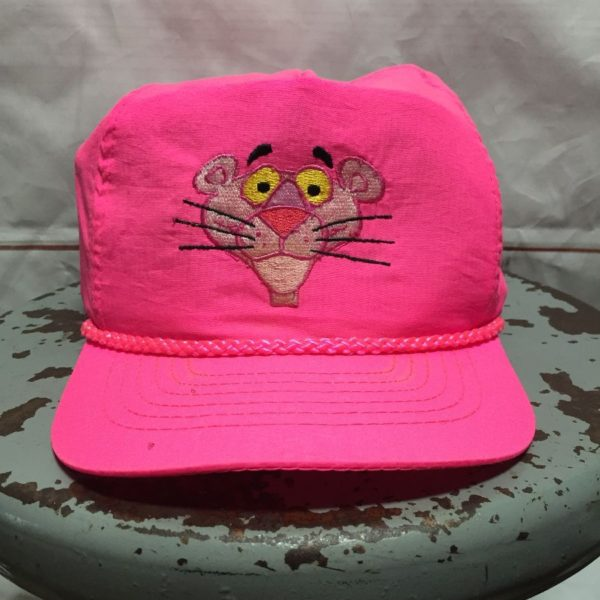 product details: RETRO NEON PINK EMBROIDERED PINK PANTHER SNAPBACK HAT AS-IS photo
