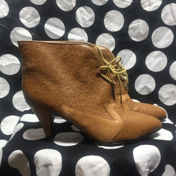 product details: HEELED & POINTED LEATHER LACEUP ANKLE BOOTIES OSTRICH LEATHER POINTED TOE - AS IS photo