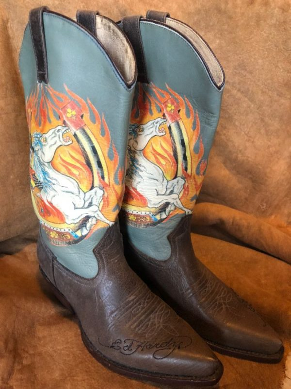 product details: VINTAGE ED HARDY COWGIRL BOOTS WITH PEGASUS FLAME GRAPHIC photo