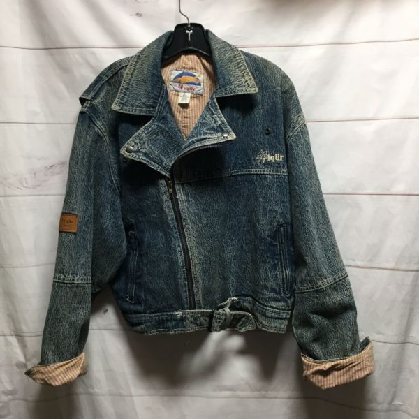 product details: ACID WASH MOTORCYCLE CUT DENIM JACKET WITH EMBROIDERED MARLON BRANDO BACK  DESIGN photo