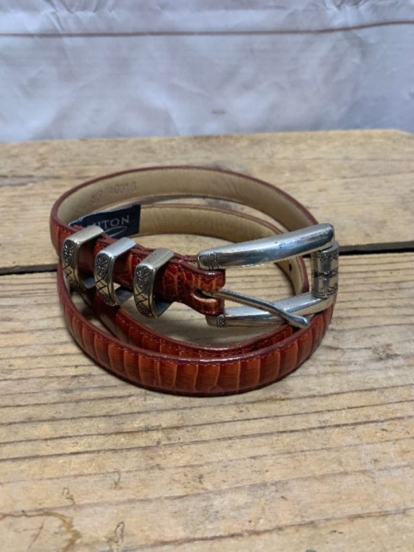 product details: THIN BRIGHTON EMBOSSED LEATHER BELT WITH 3 BELT LOOPS photo