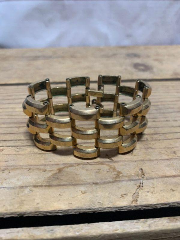 product details: RETRO GOLD LINK BRACELET WITH DOUBLE CLASP photo