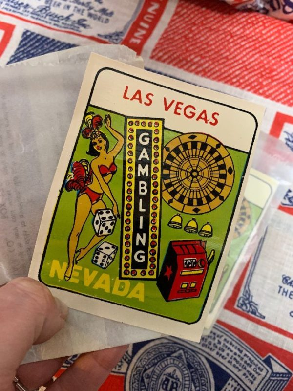 product details: VINTAGE LAS VEGAS GAMBLING DECAL STICKER IN ORIGINAL WAX PAPER PACKAGE AS-IS photo