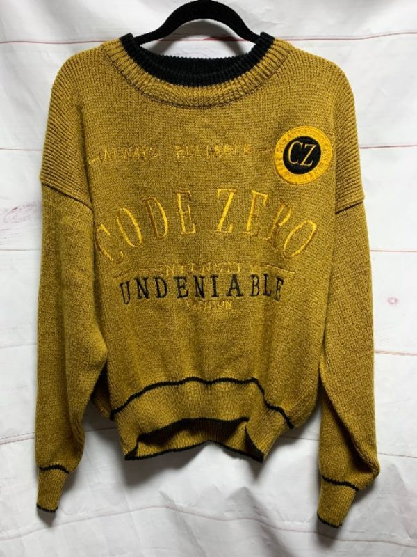 product details: 1990S SUPER SOFT KNITTED PULLOVER SWEATER EMBROIDERED ALL OVER DESIGN CODE ZERO photo