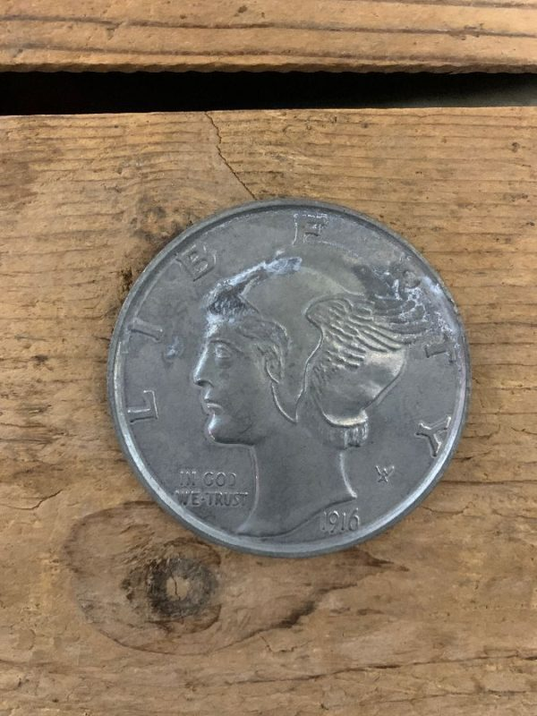 product details: OVERSIZED MERCURY DESIGN DIME COIN PROP photo