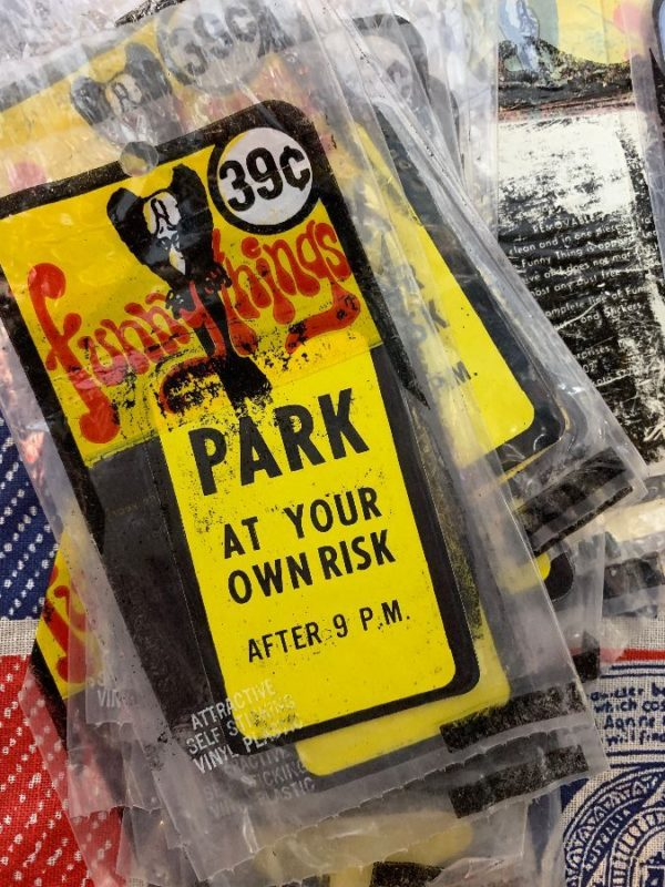 product details: VINTAGE  PARK AT YOUR OWN RISK AFTER 9 P.M. VINTAGE NOS STICKER NEW IN PACKAGE AS-IS photo