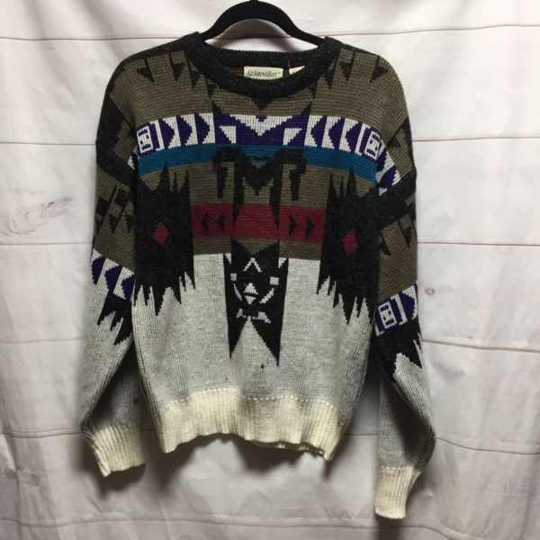 product details: TRIBAL PRINT PULLOVER KNIT SWEATER AS IS photo