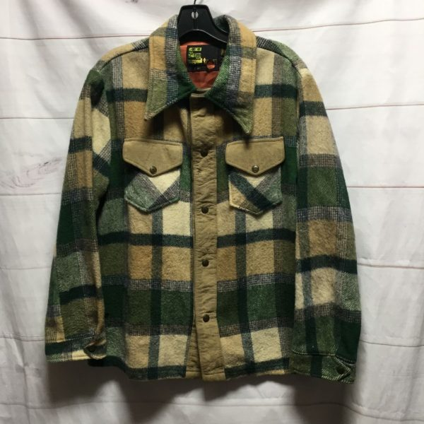 product details: 1970S HEAVY LONG SLEEVE FLANNEL WITH FAUX SUEDE DETAILS photo