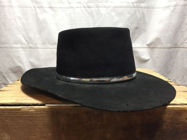 product details: VINTAGE WOOL FLAT BRIMMED COWBOY HAT WITH SILVER BAND UNIQUE SHAPE photo