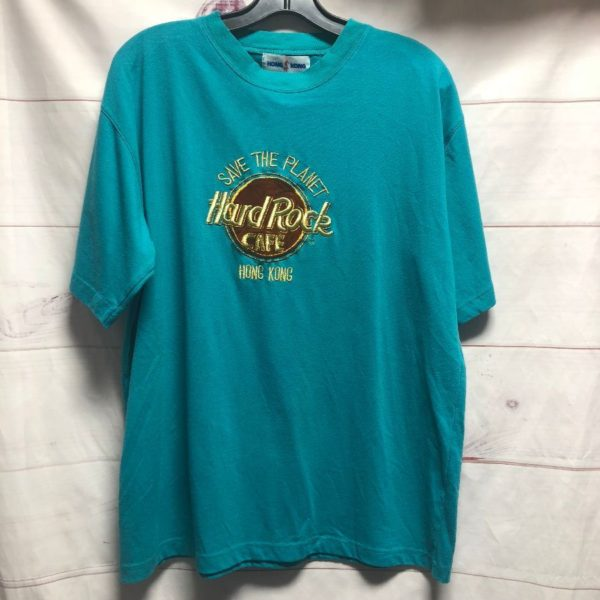 product details: HARD ROCK CAFE SAVE THE PLANET EMBROIDERED TSHIRT HONG KONG GOLD METALLIC EMBROIDERY photo