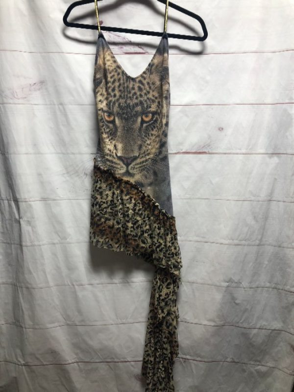 product details: HOTD LEOPARD EYES STRAPPY ASYMMETRICAL DRESS WITH LEOPARD LACE CONTRAST photo