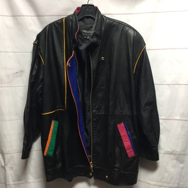product details: PELLE BRAND MULTI COLORED PANEL ACCENTS PLEATHER JACKET WITH BUILT IN SHOULDER PADS AND SNAP ON FRONT FLAP OVER ZIPPER photo