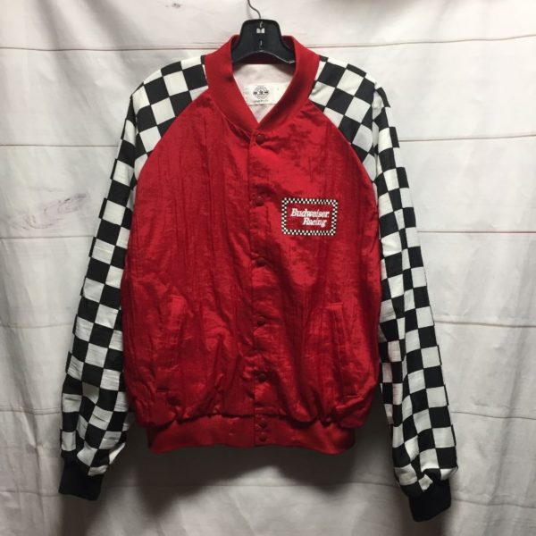 product details: RADICAL BUDWEISER RACING JACKET WITH CHECKERED SLEEVES & LARGE BACK LOGO GRAPHIC photo
