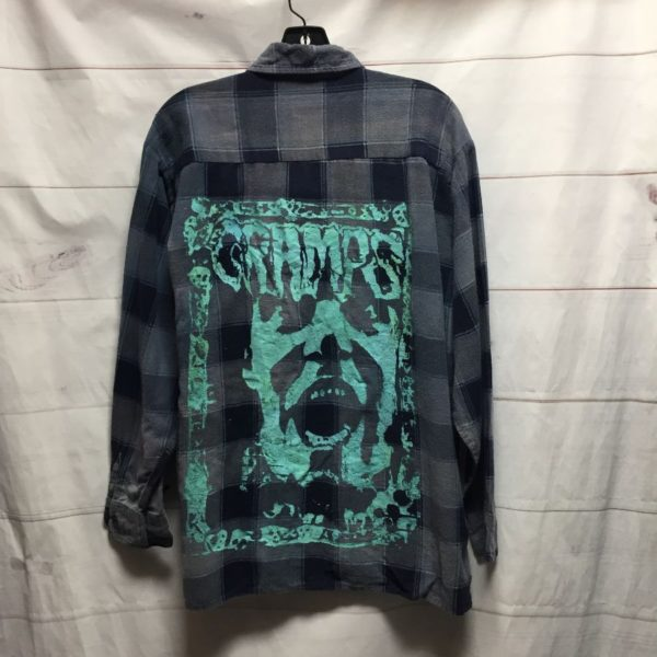 product details: THE CRAMPS LONG SLEEVE FLANNEL HAND SCREEN PRINTED *LOCAL ARTIST photo